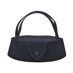 Charming Navy Suede Box Bag (1960s) by American fashion designer Nettie Rosenstein (1890-1980). via patina vintage on 1stdibs