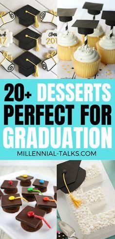 Delicious Graduation Dessert Ideas For Your Party - Millennial Talks Graduation Party Desserts, Graduation Cupcakes, Graduation Ideas, No Cook Desserts, Cookie Desserts, Delicious Desserts, Flourless Chocolate Cakes, Chocolate Chip Recipes, Chocolate Chips
