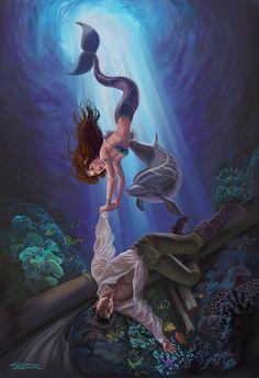 13x17 Signed Little Mermaid Saving Prince by steampunkfantasyart