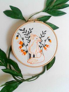 Fox embroidery pattern. PDF pattern. Printable. by jennyblairart