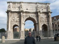 Rome-The Arch of Constantine. It was erected to commemorate Constantine I's victory over Maxentius at the Battle of Milvian Bridge on October 28, 312. -Known as a trophy that would have a statue on the top of it.