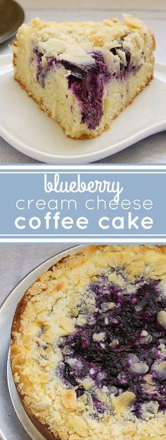 Fall is in the air and that means warm delicious homemade coffee cakes for breakfast. Fresh blueberries, cream cheese, almonds, and a buttery cake combine in Blueberry Cream Cheese Coffee Cake. Perfect for everything from brunch to dessert! Brownie Desserts, Mini Desserts, Just Desserts, Delicious Desserts, Yummy Food, Coconut Dessert, Oreo Dessert, Appetizer Dessert, Food Cakes
