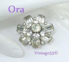 Vintage Brooch Clear Rhinestone Ora by Vintage55 on Etsy, $36.00
