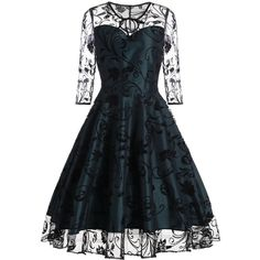 Sheer Sleeve Keyhole Lace Vintage Dress ($24) ❤ liked on Polyvore featuring dresses, sheer sleeve dress, lacy dress, lace keyhole dress, keyhole cut out dress and lace dress