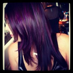 Pieces of burgundy violet and purple haze over a cool darkest brown- hair by Maureen-Wave Lengths Salon Gallery