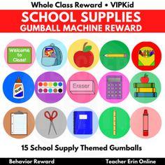 Gumball Machine Reward SCHOOL SUPPLIES THEMED   Bubble Gum   Class, VIPKid Whole Class Rewards, Student Incentives, Reward Ideas, Behavior Rewards, Gumball Machine, Bubble Gum, School Supplies, Bubbles, Teacher