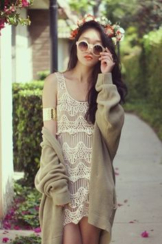 $65 Perfect for Summer~ Goodnight Macaroon Crochet Lace Mesh Lace Dress, works well as a beach cover-up