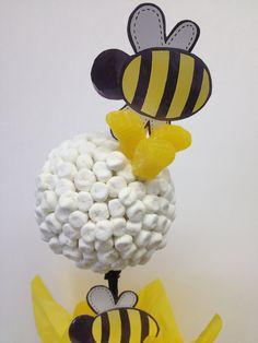 Marshmallow Topiary Centerpiece Bee Theme 2499 Via Etsy