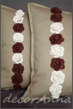 Cream and chocolate crochet roses