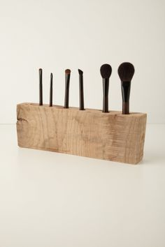Wood makeup brush holder