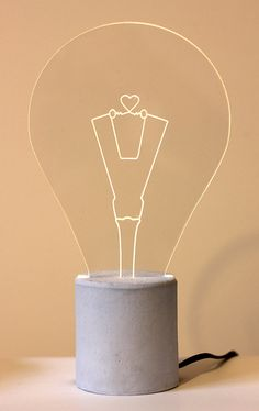 Heart shaped exposed bulb Lamp with light blue by SturlesiDesign