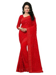 Buy Apparels- Red Colour Georgette Embroidery Work With  Machin Stone Work Saree
