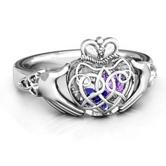 Sterling Silver Caged Hearts Celtic Claddagh Ring by JEWLR -- Wonderful of your presence to have dropped by to see the picture. (This is an affiliate link) Celtic Wedding Rings, Celtic Rings, Celtic Crown, Jewelry Rings, Fine Jewelry, Craft Jewelry, Yoga Jewelry, Irish Rings, Irish Jewelry