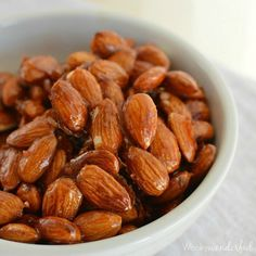 Sweet and Spicy Sriracha Glazed Almonds are the perfect snacking food! Easy to make and full of flavor! Bring a little heat to your game day snacks. Spicy Almonds, Orange Salad Dressing Recipe, Snack Recipes, Cooking Recipes, Savoury Recipes, Cooking Ideas, Appetizer Recipes, Spicy Nuts, Recipes