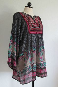 LINEA DOMANI Tribal Boho Hippie Paisley Print Tunic Shirt/ Babydoll Dress - L