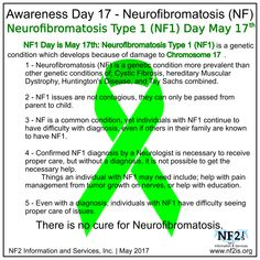 May is Neurofibromatosis Awareness is Month May 17th is NF1 Awareness Day  NF1 Day is May 17th: Neurofibromatosis Type 1 (NF1) is a condition which develops because of damage to Chromosome 17.  1 - Neurofibromatosis (NF) is a genetic condition more prevalent than other genetic conditions of; Cystic Fibrosis, hereditary Muscular Dystrophy, Huntington's Disease, and Tay Sachs combined. 2 - NF1 issues are not contagious, they can only be passed from parent to child. 3 - NF is a common…