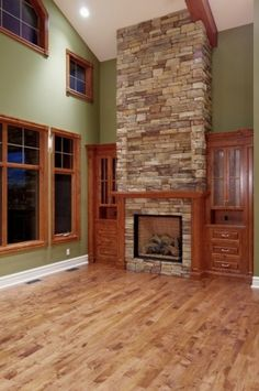 Nice color walls with the natural wood trim