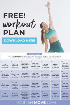 JOIN ME for 4 weeks of workouts -- 100% free! This workout plan includes daily guided workout videos on Youtube so you can BUILD LEAN MUSCLE and STRENGTH TRAIN at home, using just a set of dumbbells! I'm coaching you through every workout, providing motivation and modifications for all fitness levels! 4 Week Workout Plan, Full Body Workout Plan, Weekly Workout Plans, Workout Plan For Beginners, Workout Plan For Women, At Home Workout Plan, Workout Guide, Workout Videos, At Home Workouts