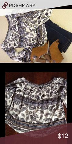 Great little off the shoulder blouse❤️ Fabulous off the shoulder blouse blue and white💕💕 Tops Blouses
