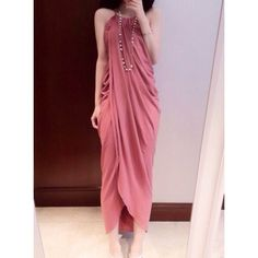 Stylish Sleeveless Halter Neck Furcal And Ruffles Design Women's Dress     [ADHNote: Try to figure out what shape this starts as, it looks like it could be a single-piece single casing overlapped and hemmed garment. Could be a 3 piece instead, 2 front 1back.]