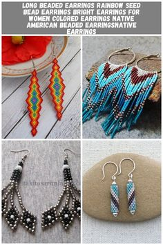 Long beaded earrings rainbow Seed bead earrings bright   Etsy Beaded earring Long beaded earrings rainbow Seed bead earrings bright earrings for women colored earrings Native American beaded earringsnative earrings Seed Bead Earrings, Women's Earrings, Seed Beads, Native American Beading, Rainbow, Bright, Etsy, Color, Jewelry