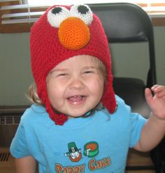 My favorite photo of Maggie in her Elmo Hat, made by Tizzy Dee!!