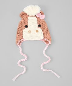 White & Brown Horse Earflap Beanie | Daily deals for moms, babies and kids