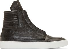Helmut Lang Black Leather High-Top Sneakers