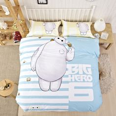 Cheap Comforters Baymax Hero Comforter Bedding Sky Blue Striped Bedding Sets Wholesale