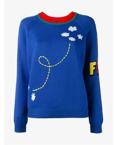 This blue and multi-coloured Mira Mikati rocket intarsia merino wool jumper is…
