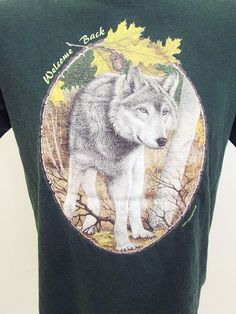 Vintage I Love Hipster Wolf Nature Animal Print T-Shirt Medium