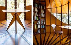 Высота башенки составляет 6 метров, а диаметр – всего 3 метра. Max Prichard нравится замкнутое пространство. Там он может полностью сосредоточиться, плодотворно работать или попросту побыть в одиночестве. Внутри студии также все выполнено из древесины. Для обшивки стен архитектор использовал фанеры из сосны, а для пола – паркетные доски из лиственницы. Из мебели там можно увидеть только встроенный стеллаж и стол и двумя стульями.