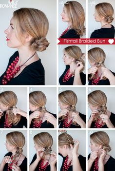 Fishtail Braided Bun TUTORIAL: 1) Put your hair in a ponytail to the side 2) Split your ponytail in two Hold one ponytail in each hand 3-6) Fishtail braid your ponytail 7) Tie the end of the braid with a clear elastic 8) Stretch out your braid 9) Twist the braid into a bun 10) Pin in place and you're done! Try and push your bobby pins through the hair elastics to make the hairstyle more secure
