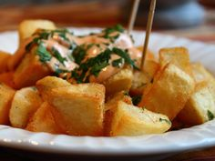 Patatas Bravas -- Crispy Potatoes with Spicy Garlic & Chili Aioli - YouTube
