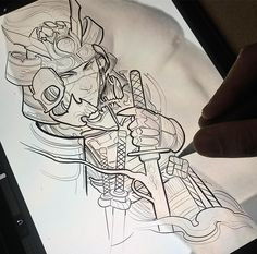Tattoos - Working on this samurai Inspired on 👻 ↪️ 🐚(ghost in the shell) Thanks for looking 🤘🏻! im searching for a good movie and a good… Japanese Tiger Tattoo, Japanese Tattoo Designs, Japanese Sleeve Tattoos, Tattoo Design Drawings, Tattoo Sketches, Leg Tattoos, Body Art Tattoos, Tattoo Gesicht, Dibujos Tattoo