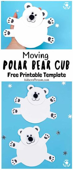 This Moving Polar Bear Cub Craft is just darling! Cradle it in your hands and move its head from side to side to bring it to life. Such a fun Winter craft for kids. (Free Printable Template) via Polar Animals Preschool Crafts, Animal Crafts For Kids, Winter Crafts For Kids, Winter Kids, Craft Kids, Craft Box, Winter Preschool Crafts, Kids Crafts, Creative Crafts