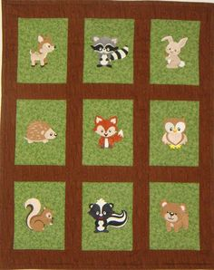 Embroidered Woodland Animals Baby Quilt, Blanket, You choose the fabric, Fox, Deer, Raccoon, Bear, Porcupine, Bunny, Squirrel, Owl, Wolf
