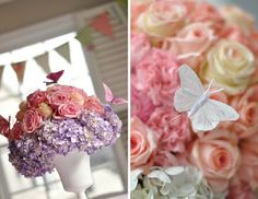 DIY Buttefly Floral Centrepieces - Have a floral feast with a butterfly flower centrepiece arrangement for each of your wedding tables, as shown here by Project Nursery. {DIY Tip} Purchase flowers such as hydrangeas, carnations and roses, wet foam and vases, and assemble each floral centerpiece with the butterflies added as finishing touch. 21 DIY Butterflies Wedding Theme & Ideas | Confetti Daydreams