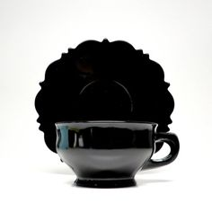 Vintage Black Milk Glass Tea Cup Saucers by hensfeathers on Etsy