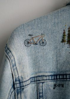 Ink & Thimble Denim Jacket Embroidery with Embroidered Bike <br> Denim Jacket Embroidery, Embroidered Denim Dress, Embroidery On Clothes, Embellished Jeans, Shirt Embroidery, Diy Jeans, Bordados E Cia, Diy Vetement, Denim Wedding
