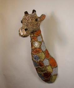 Gerri, the giraffe, Mixed Media hand made Mosaic Giraffe Contemporary Art. OOAK, Animals, title, Glass, Glitter limited