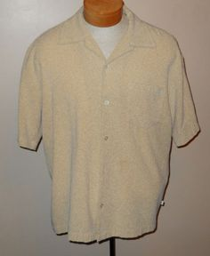 BC Ethic Lounge Smooth Fits Rockabilly Mens Shirt Large Beige Textured Short SLV #BCEthic #ButtonFront