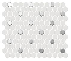 This listing is for a sample swatch of the Hexagon Mosaic Tile White Silver Dots. Hexagon Mosaic Tile, Ceramic Mosaic Tile, Mosaic Patterns, Tiles Direct, Boat Decor, Gold Dots, Soft Colors, Decoration, Different Colors