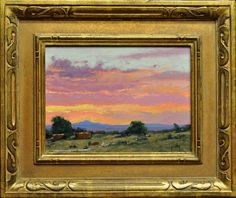 "Taos Sunset by Jerry Ricketson 9"" x 12"" oil Meyer Gallery"