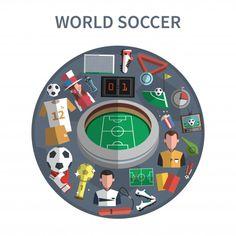 Ilustración del concepto de fútbol vector gratuito Poker Table, Soccer, Decor, Free Vector Art, Icons, Futbol, Decoration, European Football, European Soccer