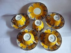 VINTAGE ADDERLEYS BEST BONE CHINA CUPS & SAUCERS} SET OF 5 #Adderley