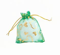 Organza Bags - 15 Green Drawstring Bags with Pretty Foil Hearts - 3.5 x 4 Sheer Drawstring Bag - Party Favor Bags - Jewelry Bags - BG407 #partyfavors #jewelrysupplies #jewelrymaking