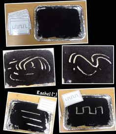 "Mark making in black 'dust' (FREE pattern cards available) - from Rachel ("",) Eyfs Activities, Nursery Activities, Space Activities, Writing Area, Pre Writing, Space Preschool, Finger Gym, Reception Class, Funky Fingers"