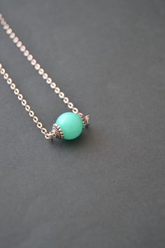 Turquoise necklace, minimalist mint green necklace by Valkyrie´s Song