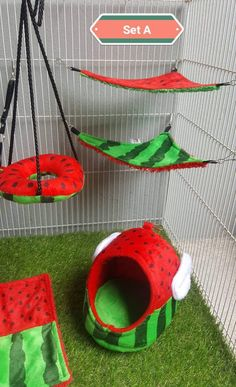 6 Piece Sugar Glider Hamster Marmoset Squirrel Chinchillas Small Pet Cage Set A Watermelon Pattern Green Red Color *** To find out more, check out image link. (This is an affiliate link).